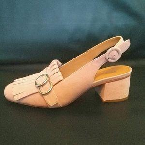 Soft Pink Suede High Heels